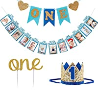 1st Birthday Boy Decorations Crown - Baby Boy First Birthday Decorations High Chair Banner ONE Banner, No.1 Crown, Glitter Cake Topper,Baby Photo Banner