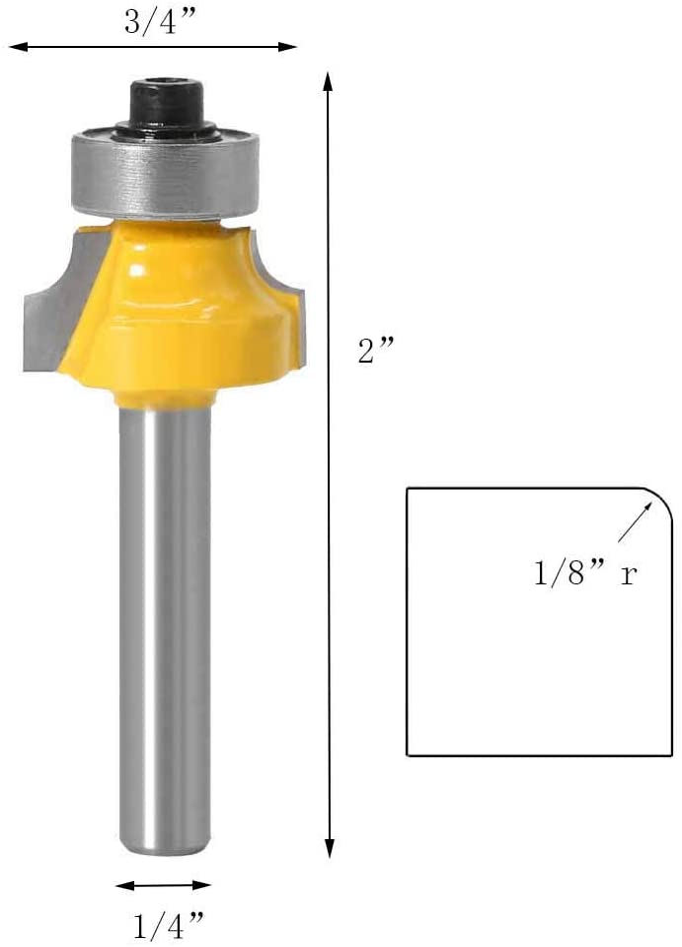 6.35mm V/ástago Brocas de enrutador redondas Corner Broca de Fresadora Muebles de Bricolaje 3 Pcs fresas para Madera Bestgle4 Pcs 1//4 Inch