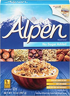 Alpen Muesli Cereal, No Sugar Added, 14 Ounce (Pack of 6) by Alpen
