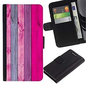 For Sony Xperia Z3 Compact Case , Pink Purple Lines Wood Texture - la tarjeta de Crédito Slots PU Funda de cuero Monedero caso cubierta de piel