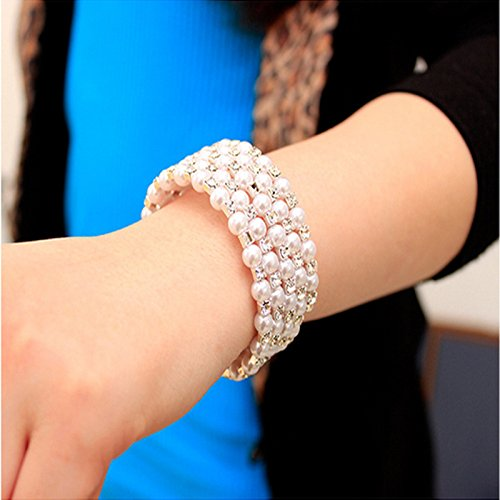 Korean fashion gorgeous spiral wound multi-layer pearl bracelet diamond bracelet female fashion bracelet wholesale ()