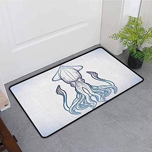 (YGUII Washable Doormat,Kraken Squid Figure in Classic Line Art Styled Graphic Nautical Marine Sea Creature Image Art,Bathroom mat,16X23.6in (40x60cm),)