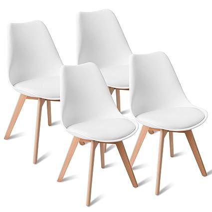 4687b96977e89 Amazon.com - NanaPluz 4 Pcs Armless Dining Side Chairs Mid Century ...
