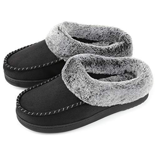 (ULTRAIDEAS Women's Cozy Memory Foam Moccasin Suede Slippers with Fuzzy Plush Faux Fur Lining, Ladies' Slip on Mules Clogs House Shoes with Indoor Outdoor Anti-Skid Rubber Sole Black Medium)