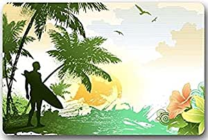 Mr. Six Custom Urfboard On Beach With Palm Trees Theme Painting Indoor/Outdoor Doormat Bathroom Kitchen Mat Welcome Doormat