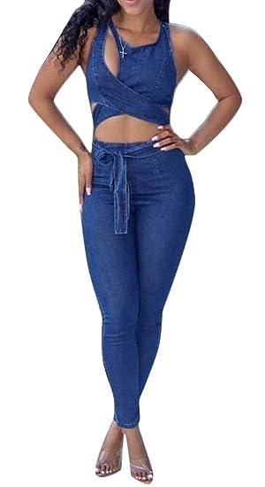 7ce36c7ef1 KLJR Women Sexy Denim Jeans Pants Sleeveless with Belt Skinny Bodycon Jumpsuit  Romper Dark Blue XS