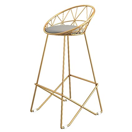 Enjoyable Lxn Modern Simplicity Golden Bar Stool High Stool Upholstered Dining Chairs And Hollow Backgray Faux Leather Seat Metal Legs Kitchen Pub Breakfast Dailytribune Chair Design For Home Dailytribuneorg
