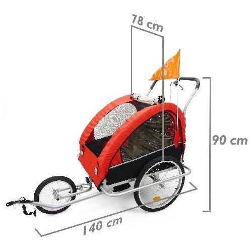 Cablematic – Remolque de bicicleta para transportar 2 niños doble rojo negro con 3 ruedas y freno
