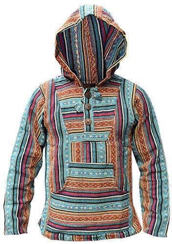 Kathhmandu étnico estilo Sudadera Petrol Mix con rayas diseño a multicolor algodón Little capucha Baja de r18Yqw8E