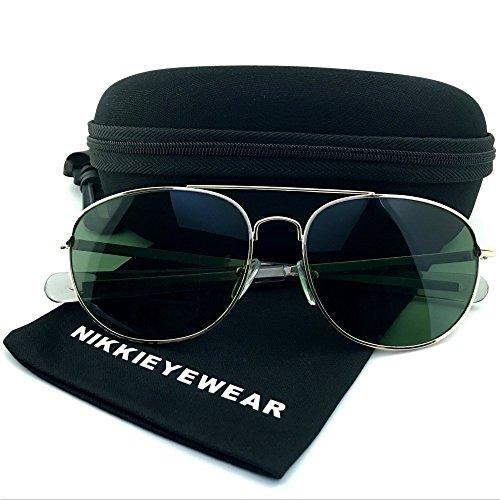 Escada Discount (NIKKIEYEWEAR - Classic Sport Aviator Sunglasses Glass Lens with Paddle Temples (Aviator Silver))