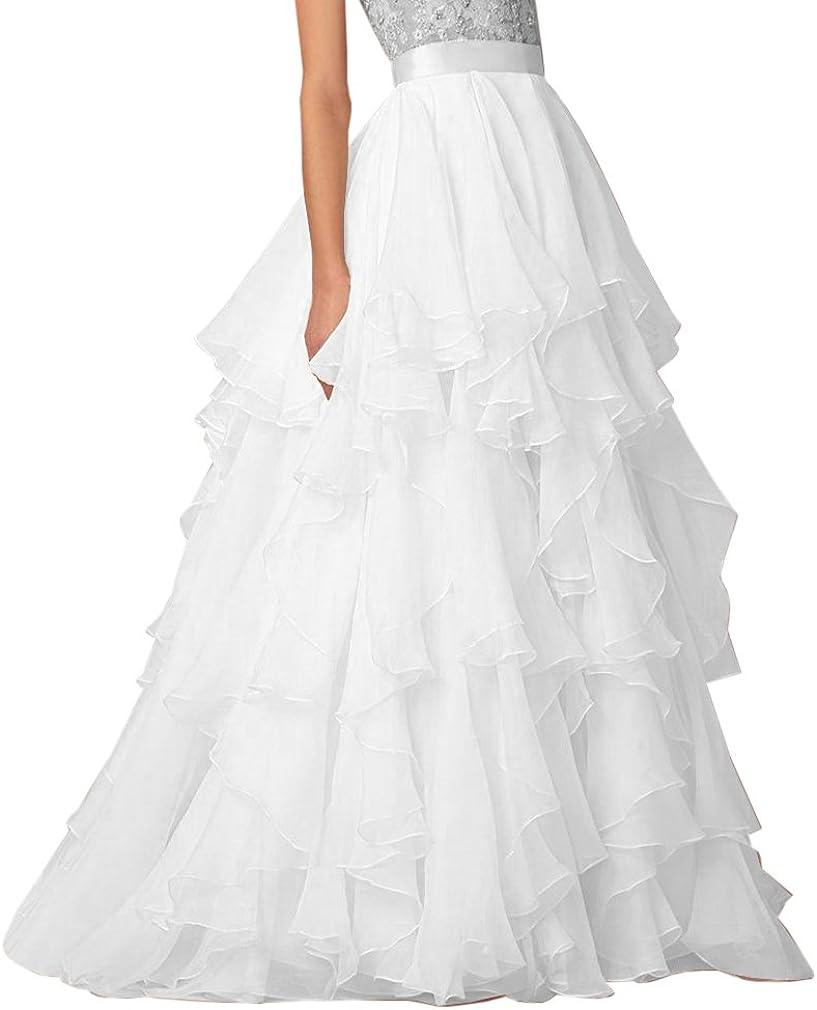 Boda Lady una línea Falda de volantes de novia boda gasa con capas ...