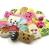 Trasfit 12 Pieces Random Squishy Charms Kawaii Soft Foods Squishies Cake/Panda/Bread/Buns Phone Charm Key Chain Strap