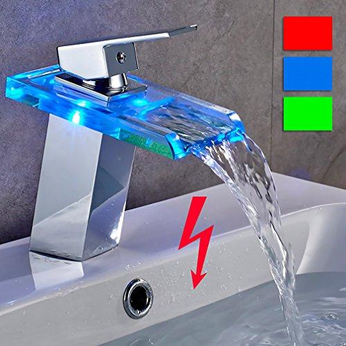 Auralum® LED RGB Niederdruck Waschtischarmatur Wasserfall Waschbecken Wasserhahn Einhebelmischer Mischbatterie für Badzimmer
