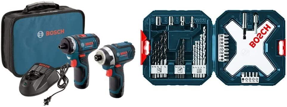 Bosch CLPK27-120 12V Max 2-Tool Combo Kit (Drill/Driver and Impact Driver) with 2 Batteries, Charger and Case & MS4034 34-Piece Drill and Drive Bit Set