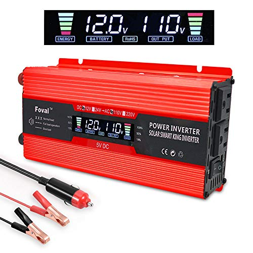 - LVYUAN 700W/1500W Power Inverter Dual AC Outlets and Dual USB Charging Ports DC to AC Inverter 12V to 110V Car Converter DC 12V Inverter with Digital LCD Display