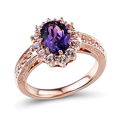 10k Rose Gold Amethyst Ring with Created White Sapphire Halo