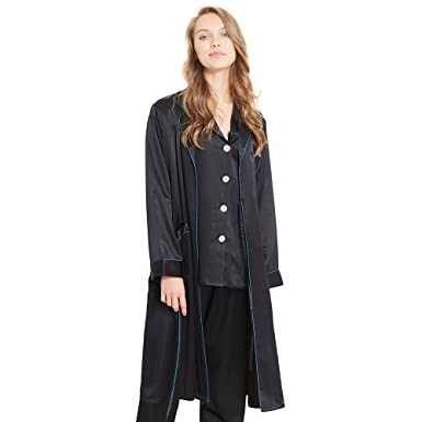 LilySilk Women s Silk Pajamas   Robe Set with Contrast Trim 3pcs Sleepwear  Pure Natural Mulberry 22 354c729fb