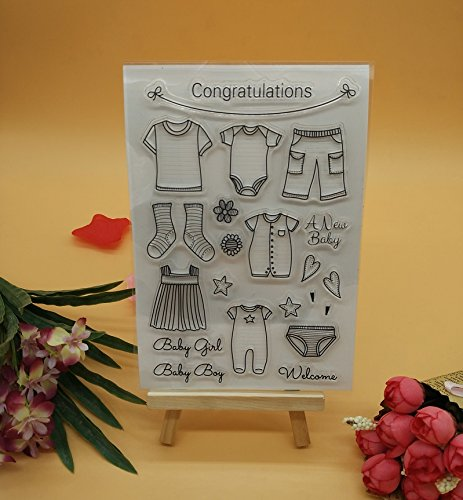 Welcome to Joyful Home 1pc Congratulation Cute Baby Clothes Clear Stamp for Card Making Decoration and Scrapbooking