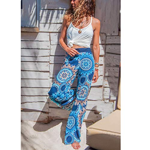 Pervobs Women Summer Casual Boho Floral Printing High Waist Wide Leg Pants Holiday Daily Loose Leggings Trouser(M, Blue) by Pervobs Women Pants (Image #3)