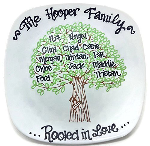 Hand Painted Personalized Family Tree Plate Mother's Day - Personalized Ceramic Plate