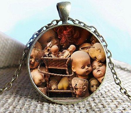 Creepy Halloween Doll Heads Pendant Necklace Jewelry, Voodoo Doll, Voodoo Necklace, Jewelry, Glass Pendant, Photo Jewelry]()