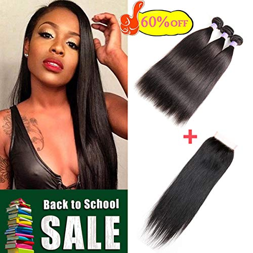 AMZTMY Brazilian Straight Virgin Hair 3 Bundles With Closure Free Part, Grade 7A 100% Unprocessed Remy Human Hair Extensions, Hair Weft Weave With Lace Closure, Natural Color (10 12 14+10 inch)
