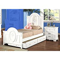 1PerfectChoice Flora Youth Girl Twin Bed Nightstand Bedroom Set Floral Decor Solid Wood White