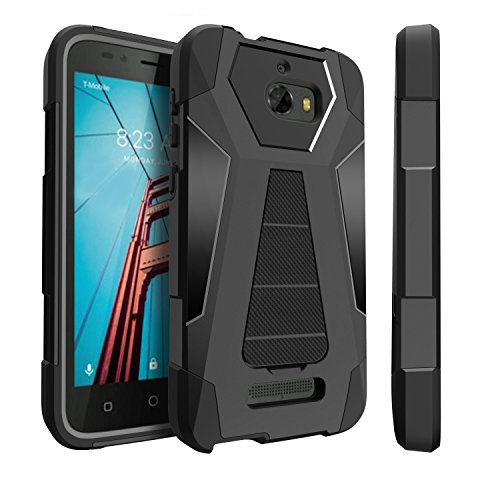 Untouchble Case for Coolpad Defiant, Defiant Black Case [Traveler Series]- Dual Layer Hard Plastic Inner Silicone Stand Case - Black