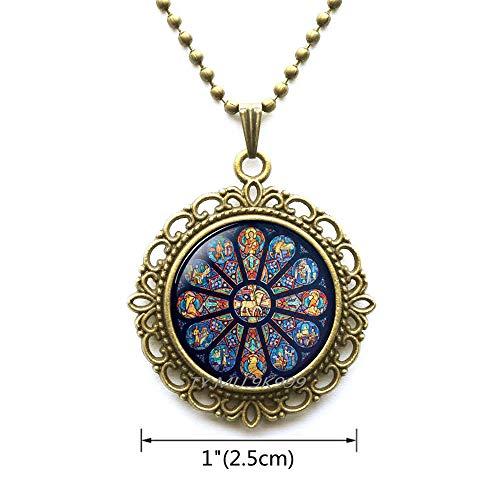 Yao0dianxku Rose Window Pendant,Gothic Cathedral,Gothic Style Necklace,Gothic Rose Window,Gothic Rose Pendant,Catholic,Christian Jewelry.Y213