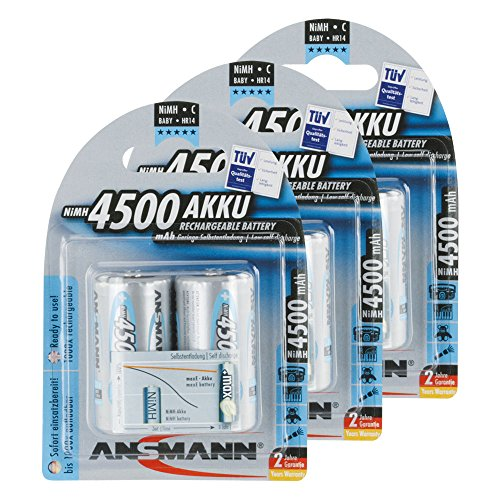 ANSMANN Rechargeable C Batteries 4500mAh maxE ready2use NiMH Professional C Battery pre-charged Power Accu for flashlight etc. (6-Pack)