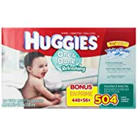 Huggies One and Done Refreshing Baby Wipes, Cucumber and Green Tea, Refill, 504 Count (Packaging May Vary)