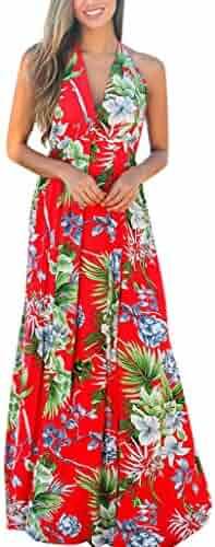 1465affe457 Women s Summer V-Neck Floral Print Bodycon Elegant Sleeveless Dress Party Long  Maxi Dress