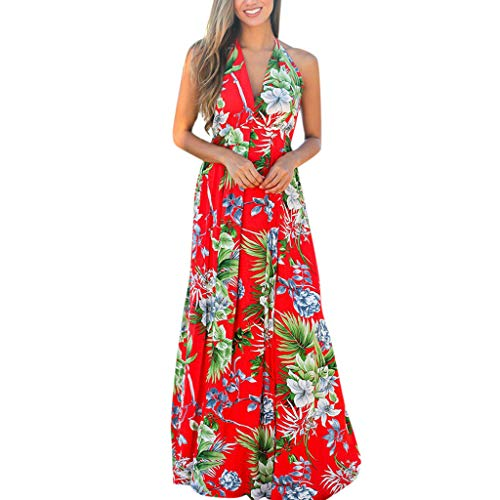 Floral Long Dress for Women,SMALLE◕‿◕ Women's Sleeveless Halter Neck Swning Maxi Dress Backless Beach Dress Red