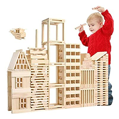 Wooden Adult Educational Toys 100 PCS/Set Wooden Architectural Model Building Blocks Puzzle Children Early Education Toys kids toys Early Education Wood Toys: Everything Else