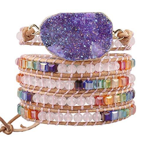 (TUMBEELLUWA Wrap Bracelets Crystal Beaded Bohemian Style Druzy Leather Woven Healing Stone Jewelry for Women,Rose Quartz)
