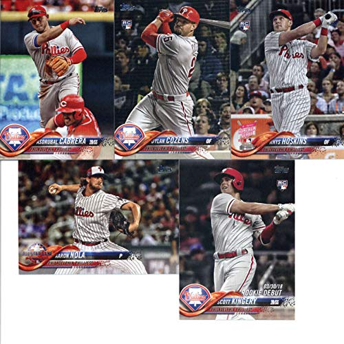 Cards Valentin Baseball - 2018 Topps Update Series Baseball Philadelphia Phillies Team Set of 11 Cards: Jorge Alfaro(#US4), Scott Kingery(#US14), Jesmuel Valentin/Mitch Walding(#US106), Asdrubal Cabrera(#US116), Carlos Santana(#US125), (#US128), Seranthony Dominguez(#US161), Wilson Ramos(#US170), Dylan Cozens(#US175), Rhys Hoskins(#US268), Aaron Nola(#US296)