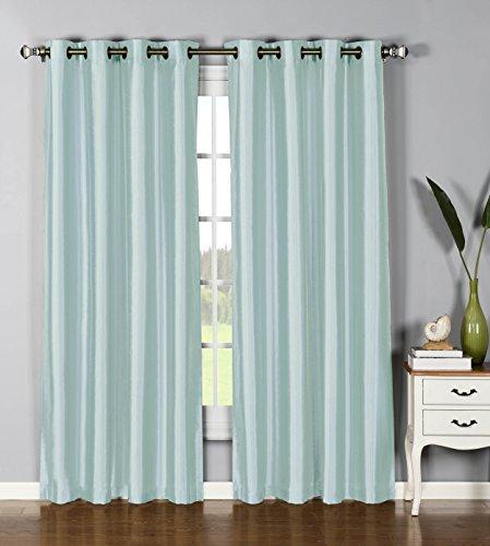 Window Elements Jane Faux Silk Grommet Extra Wide 54 x 95 in. Curtain Panel, Lake Blue ()