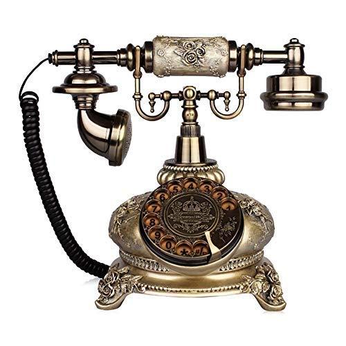 固定電話 コード付き電話電話ヨーロッパのロータリーダイヤル電話アンティーク電話ヴィンテージ固定電話ロータリーダイヤル樹脂と金属用家族オフィス工芸品 固定電話 B07QXNZKVS