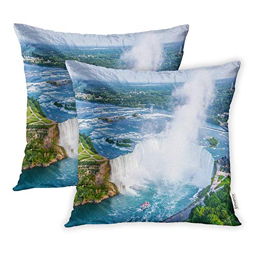 (HFYZT Set of 2 Throw Pillow Covers Blue Tourism Niagara Falls Aerial View Canadian Canada Mist Pillowcase 18x18 Square Decor for Home Bed Couch)