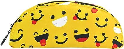 BONIPE - Estuche para bolígrafos de emoticono sonriente con emoji para maquillaje cosmético o para bandejas de oficina: Amazon.es: Oficina y papelería