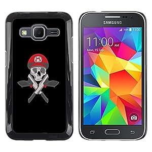Mario Skull & Guns - Metal de aluminio y de plástico duro Caja del teléfono - Negro - Samsung Galaxy Core Prime / SM-G360