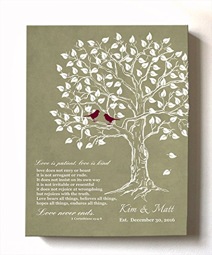 MuralMax - Personalized Anniversary Family Tree Artwork - Love is Patient Love is Kind Bible Verse - Unique Wedding & Housewarming Canvas Wall Decor Gifts - Color Khaki # 2 - Size 8x10
