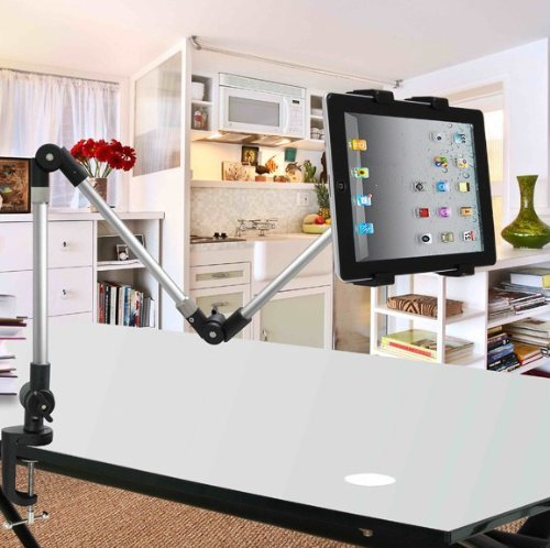 ECVISION Desktop seat Bed Car bolt clamp mount bracket Ipad holder IPad stand Ipad monut for Ipad & All Tablet and Wide-Sreen Mobile Phones -with Product Replacement Warranty from ECVISION
