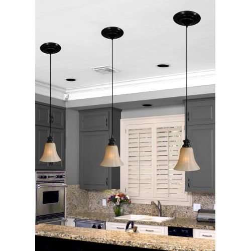 Worth Home Products Instant Screw In Pendant Light with Scavo Glass Shade