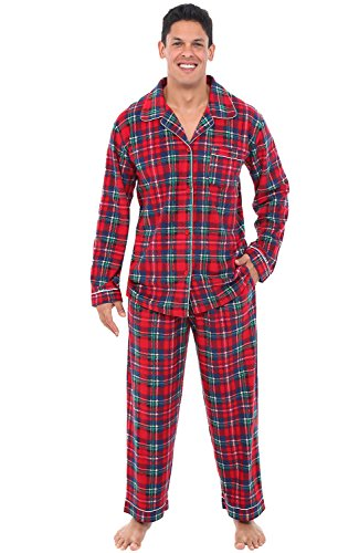 (Alexander Del Rossa Mens Fleece Pajamas, Long Button-Down Pj Set, Small Red and Green Plaid (A0330Q19SM))