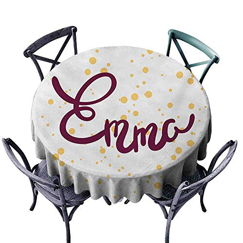 VIVIDX Indoor/Outdoor Round Tablecloth,Emma,Feminine Letters Arrangement Handwritten Newborn Girl Name Curves and Swirls,High-end Durable Creative Home,35 INCH,Purple and Mustard