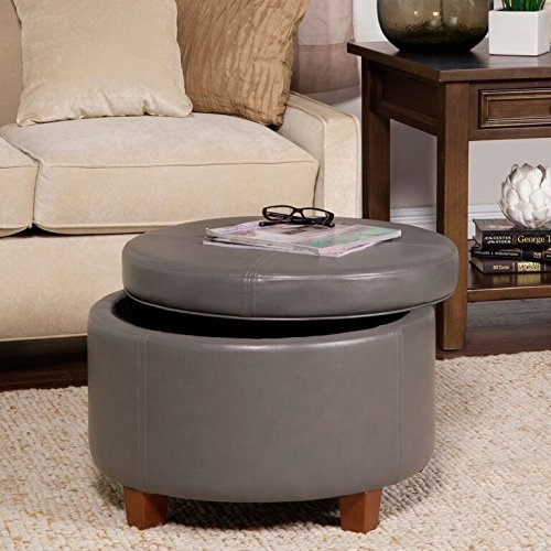 Kinfine Large Leatherette Round Storage Ottoman with Removeable Lid Charcoal Gray