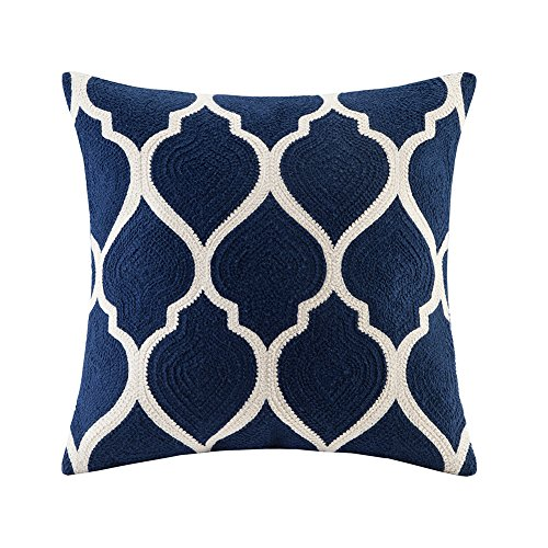 (blue page Linen Navy Embroidered Decorative Throw Pillows Covers Square Cushion Cases for Sofa Couch Bed Living Room Modern Decor Geometric Elegant Floral Pillow Sham 18x18)