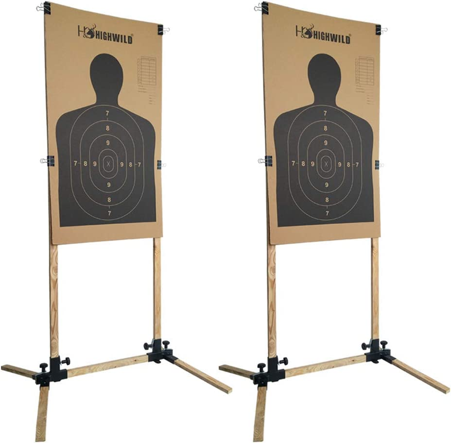 Highwild Adjustable Target Stand Base for Paper Shooting Targets Cardboard Silhouette - USPSA/IPSC - IDPA Practice (2 Set) : Sports & Outdoors