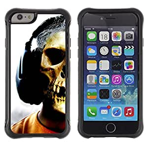 iKiki Tech / Estuche rígido - Skull Headphones Music Art Skeleton Man - Apple iPhone 6